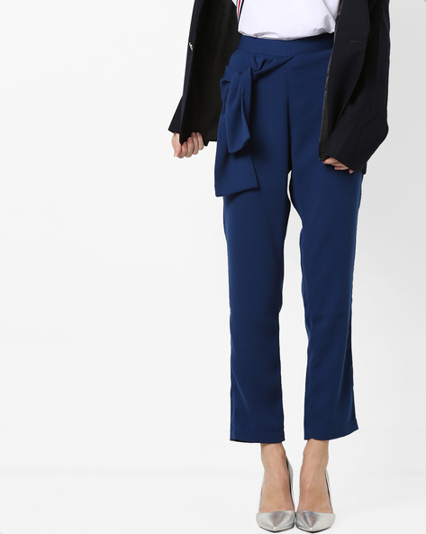 Slim Fit High-Waist Trousers With Side Tie-Up By AJIO ( Navy )