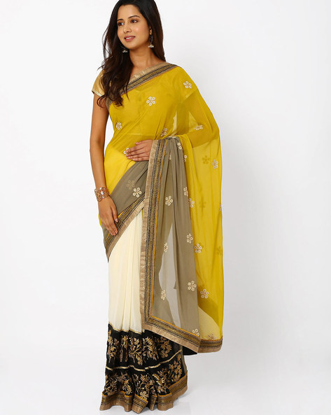 Embroidered Georgette Half & Half Saree By Viva N Diva ( Yellow )