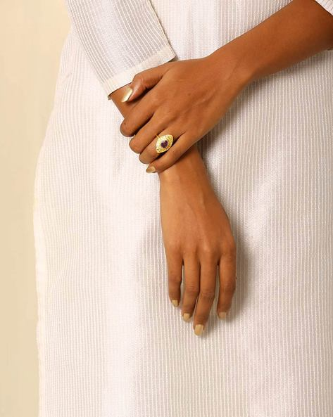 Gold-Plated Brass Ring By Indie Picks ( Multi )
