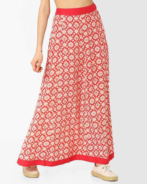 Maxi Panelled Skirt By AJIO ( Coral )
