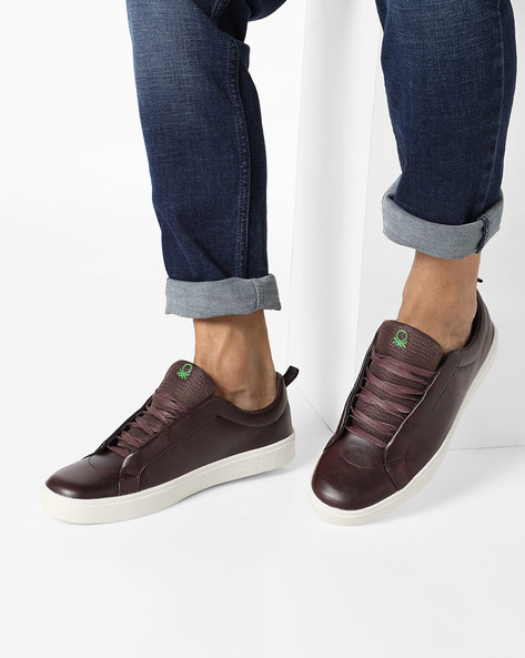 Low-Top Sneakers With Blind Eyelets By UNITED COLORS OF BENETTON ( Maroon )