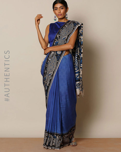 Kalamkari Print Cotton Special Saree By Indie Picks ( Blue )