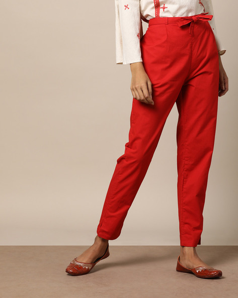 Slim Fit Cotton Pants With Vented Hems By Seasons ( Red )