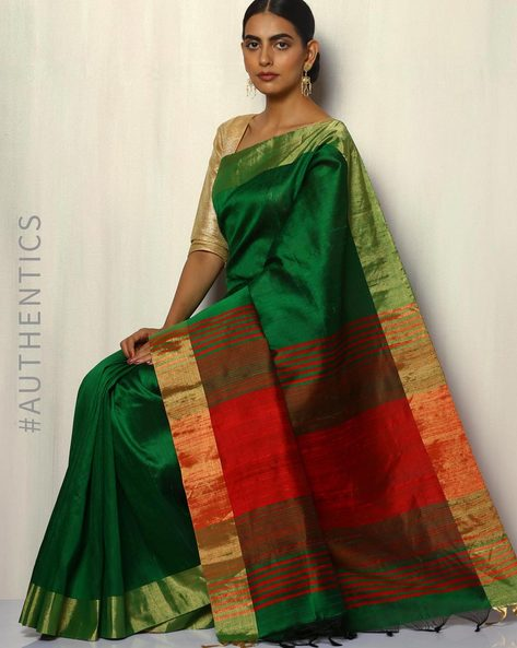 Handloom Pure Silk Dupion Saree With Zari Border By Pretty Woman ( Green )