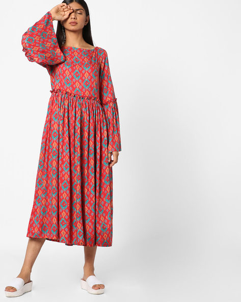 Printed Midi Dress By AJIO ( Red )
