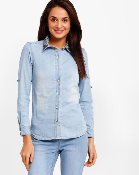 Denim Embellished Collar Shirt By The Vanca ( Blue )
