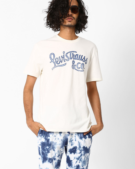 Graphic Print Cotton T-shirt By LEVIS ( White )