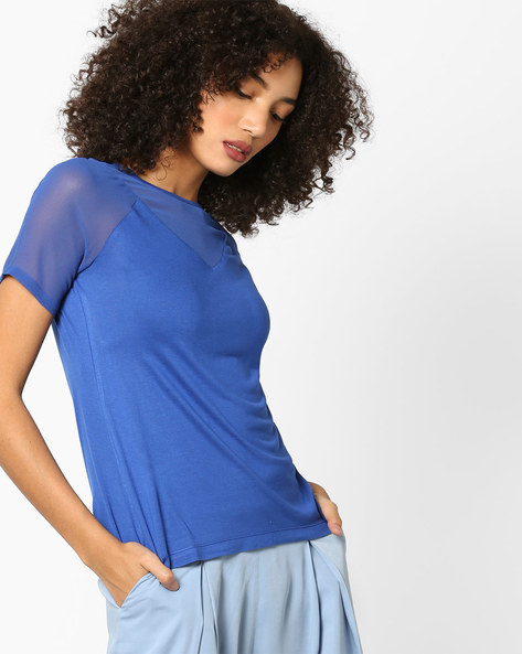 Top With Raglan Sleeves By AJIO ( Blue )