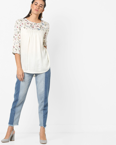 Top With Floral Print Yoke By AJIO ( Offwhite )