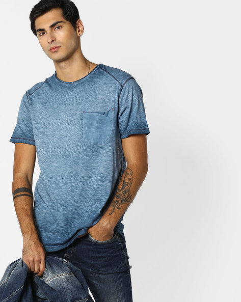 Slub-Knit T-shirt With Patch Pocket By RINGSPUN ( Indigo )