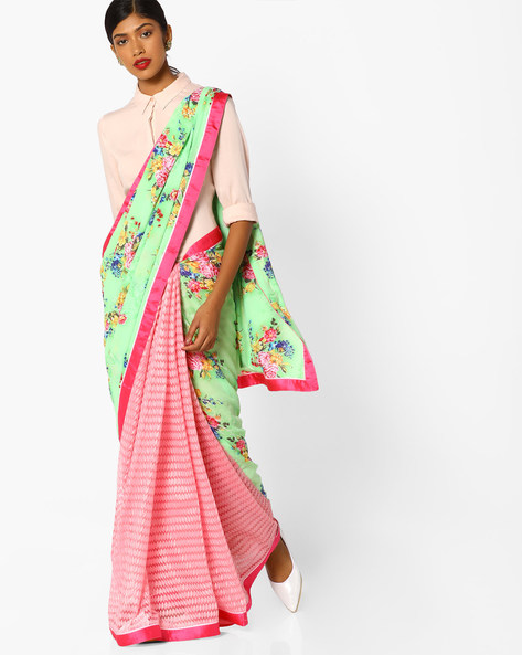 Half-and-Half Style Floral Print Saree By Runalaila ( Green )