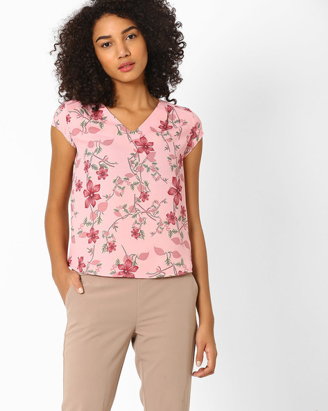 Floral Print High-Low Top By AJIO ( Pink ) - 460030737010
