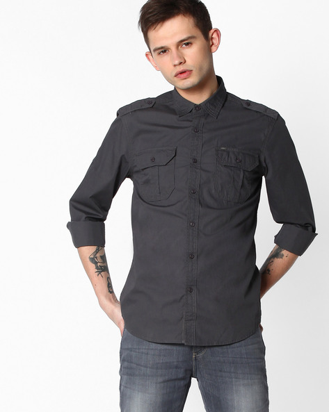 Slim Fit Shirt With Flap Pockets By Lee ( Grey )
