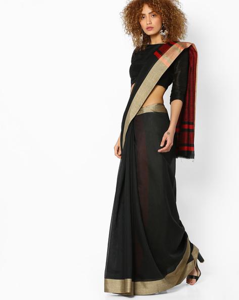 Handloom Cotton Saree With Striped Pallu By SHRIKALA ( Black )