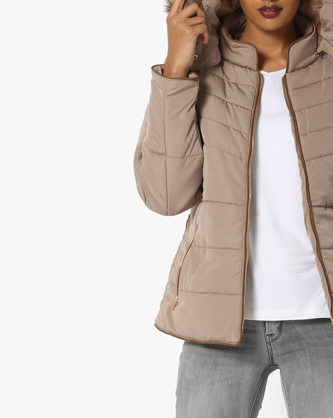 Hooded Quilted Jacket By Fort Collins ( Khaki ) - 460108318005