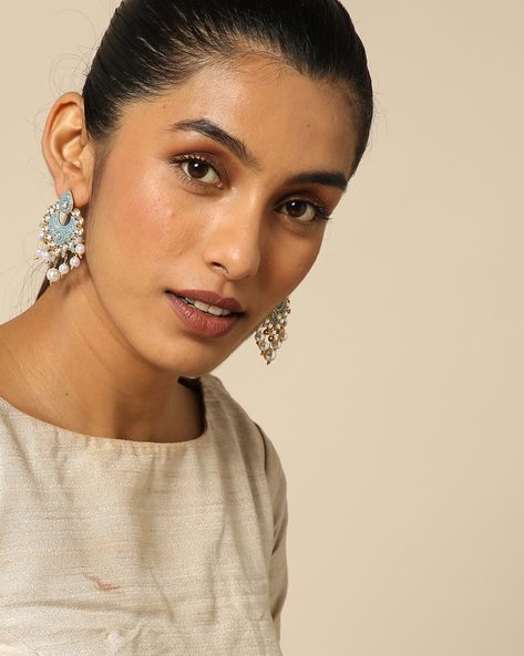 Enamel Pearl Stone Earrings By Spargz ( Blue )