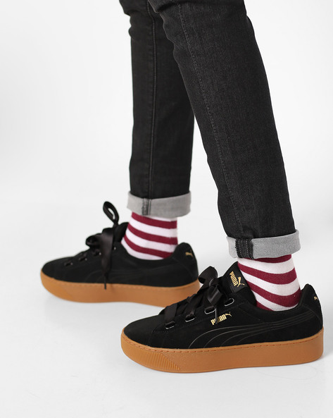 Suede Lace-Up Casual Shoes By Puma ( Black )