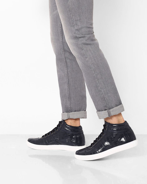 Textured High-Top Sneakers By AJIO ( Navy )