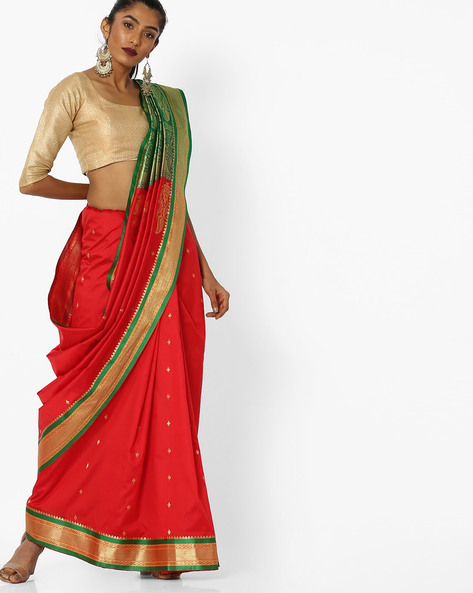 Printed Saree With Contrast Border By CHHABRA 555 ( Red )