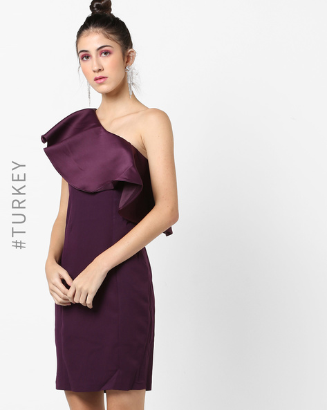 One-Shoulder Foldover Bodycon Dress By TRENDYOL ( Burgundy )