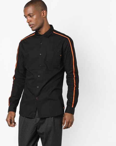 Cotton Shirt With Spread Collar By Locomotive ( Black )