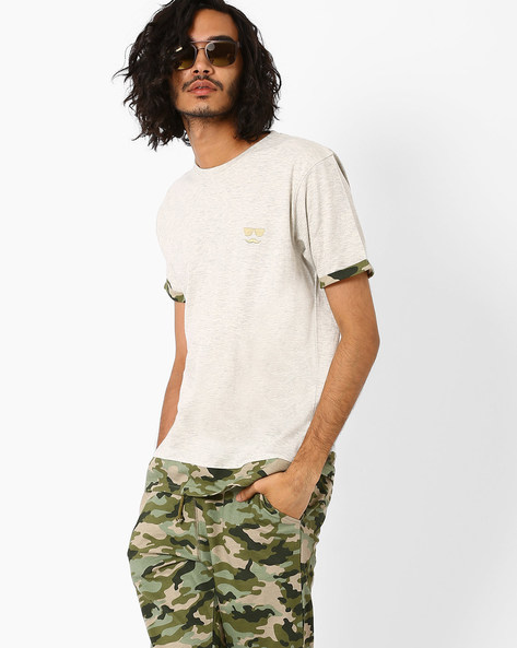 Panelled T-shirt With Camouflage Print Hems By Garcon ( Green )