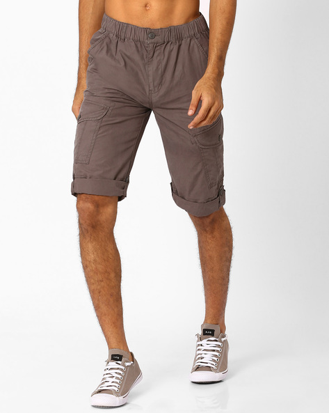 Cargo Regular Shorts With Elasticated Waist By TEAM SPIRIT ( Charcoal )