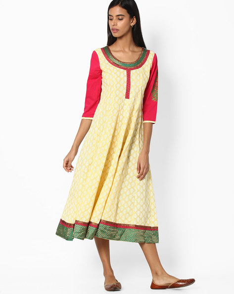 Cotton Kalidar Kurta With Zari Work By Jiyaa ( Yellow )