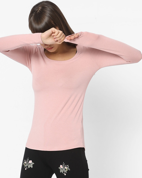 Knitted Top With Full Sleeves By CODE By Lifestyle ( Lgtpink )