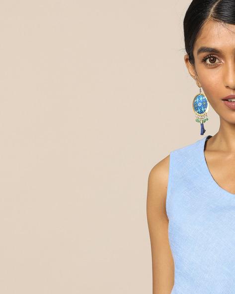 Beaded Dangler Earrings By Indie Picks ( Blue ) - 460121375001