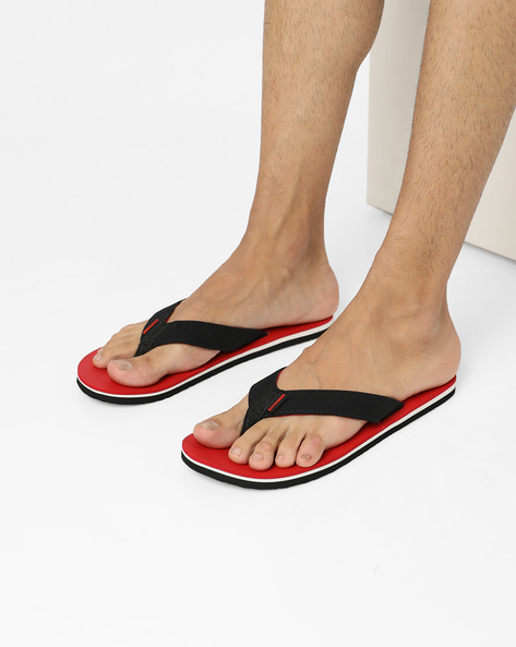 Colourblock Flip-Flops With Signature Branding By CONVERSE ( Red )