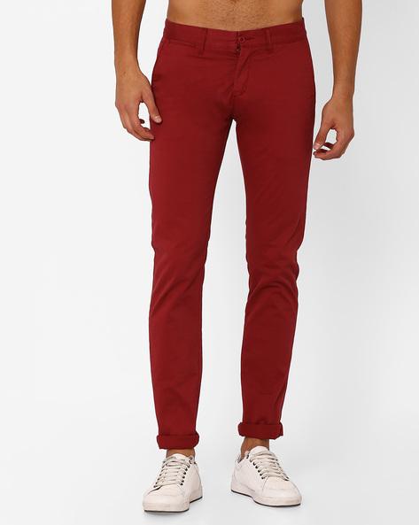 Slim Fit Stretch Denim Trousers By Celio ( Red )