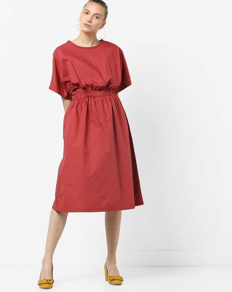 Midi Dress With Elasticated Waist By Tokyo Talkies ( Pink )
