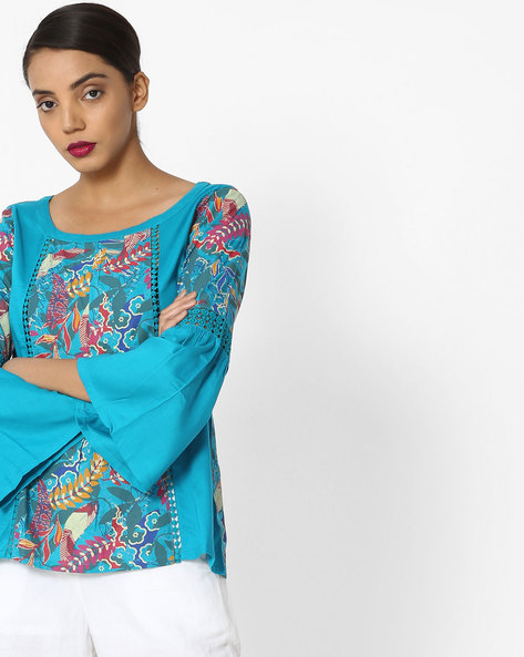 Printed Top With Bell Sleeves By Akkriti By Pantaloons ( Teal )
