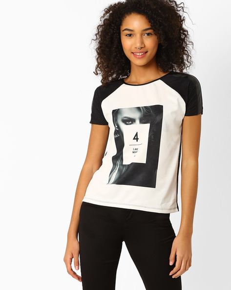 Graphic Print T-shirt With Raglan Sleeves By RIO ( White )