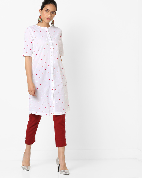 Polka-Dot Print Kurta By AJIO ( White )
