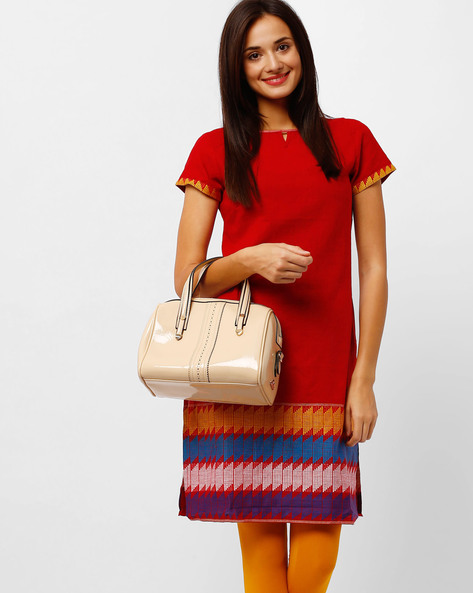 Straight Kurta With Woven Design By AURELIA ( Red )