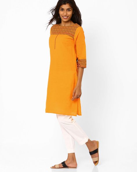 Kurta With Woven Design By AURELIA ( Yellow )