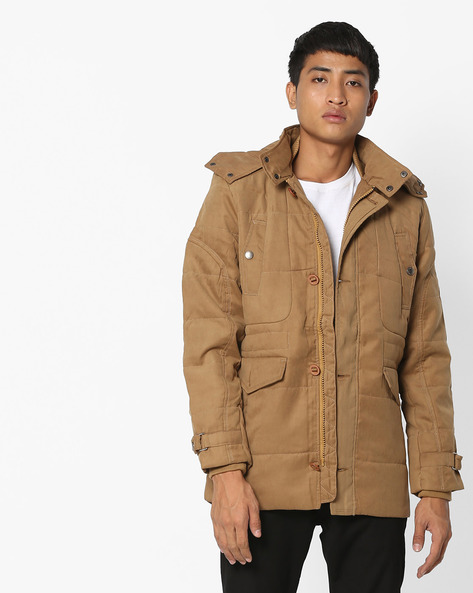 Hooded Jacket With Front Zipper By Fort Collins ( Khaki )
