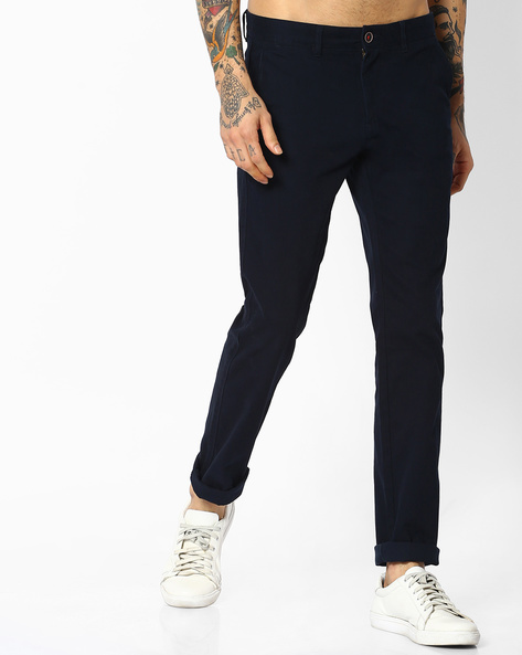 Flat-Front Tapered Fit Chinos By NETPLAY ( Black )
