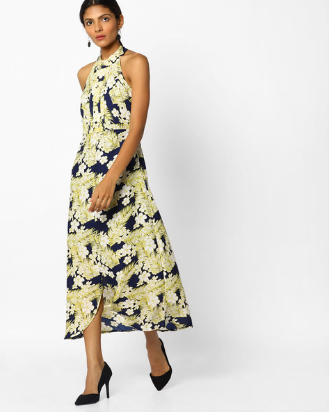 Tropical Print Maxi Dress By Sassafras ( Navyblue )