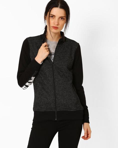 Textured Jacket With Front Zipper By TEAM SPIRIT ( Black )