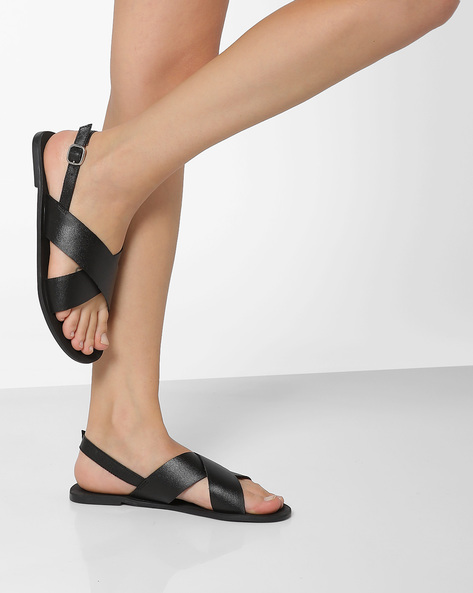Genuine Leather Cross-Strap Sandals By THEEA ( Black )