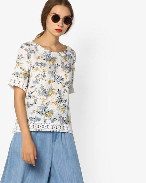 Floral Print Top With Lace Trims By CODE By Lifestyle ( Offwhite )