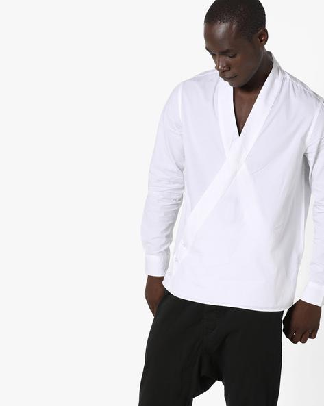 Yukata Slim Fit Shirt With Surplice Neckline By AJIO ( White )