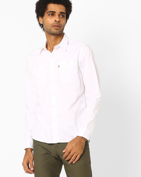 Cotton Shirt With Curved Hem By LEVIS ( White )