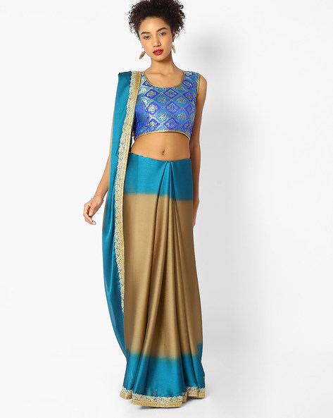 Colourblock Saree With Embroidered Border By Majestic Silk ( Brown )