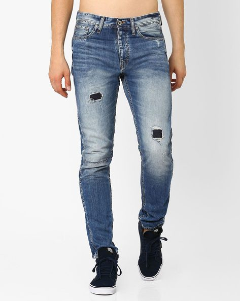Distressed Slim Fit Jeans By Jack & Jones ( Blue )