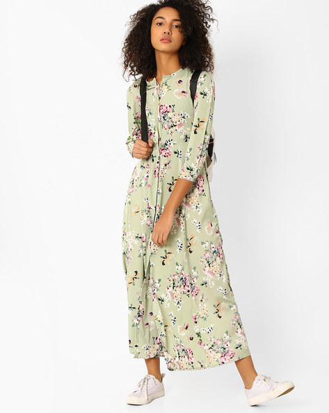 Floral Print Maxi Dress With Button Placket By Oxolloxo ( Multi )