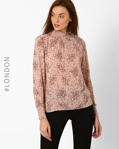Floral Print Top With Smocked Neckline By Marks & Spencer ( Pink )